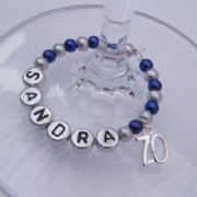 70th Birthday Personalised Wine Glass Charm - Full Bead Style